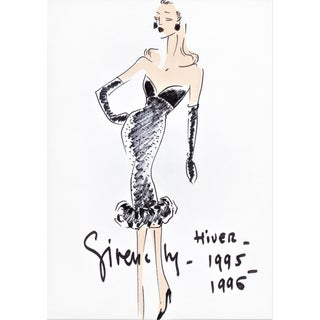 RARE-Matted Haute Couture Givenchy 1995 Fashion Print With Original Documentation For Sale