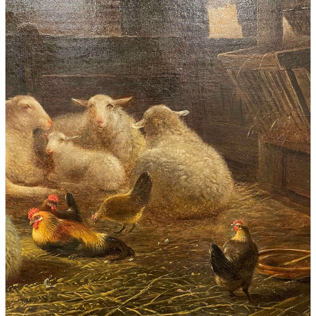 19th Century Dutch Sheep Painting in Carved Gilt Frame Signed Frans Lebret For Sale - Image 11 of 13