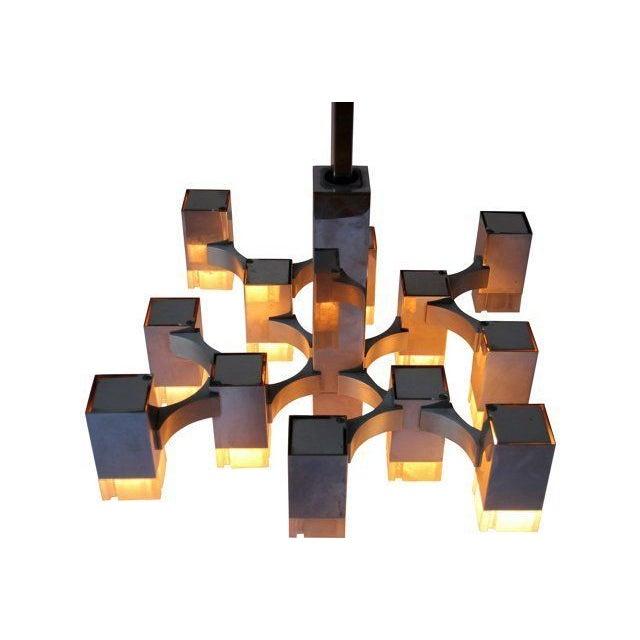 Italian Sciolari Cubic Lightolier Chandelier - Image 4 of 4