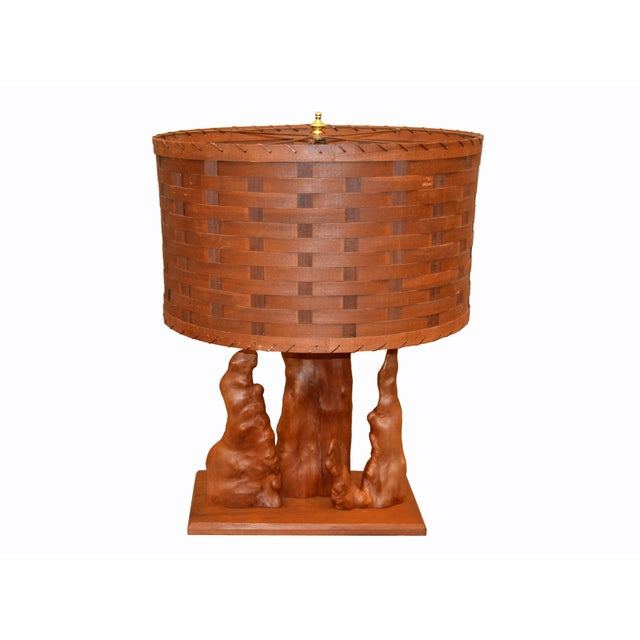 Organic Modern Sculptural Driftwood Table Lamp & Woven Basket Shade Walnut Base For Sale - Image 9 of 10