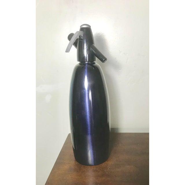 1980s 1980s Vintage Metallic Navy Metal Soda Siphon For Sale - Image 5 of 5