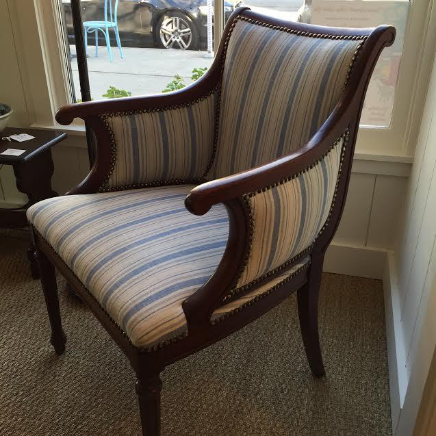 Traditional Vintage Blue & White Striped Nailhead Chair For Sale - Image 3 of 9