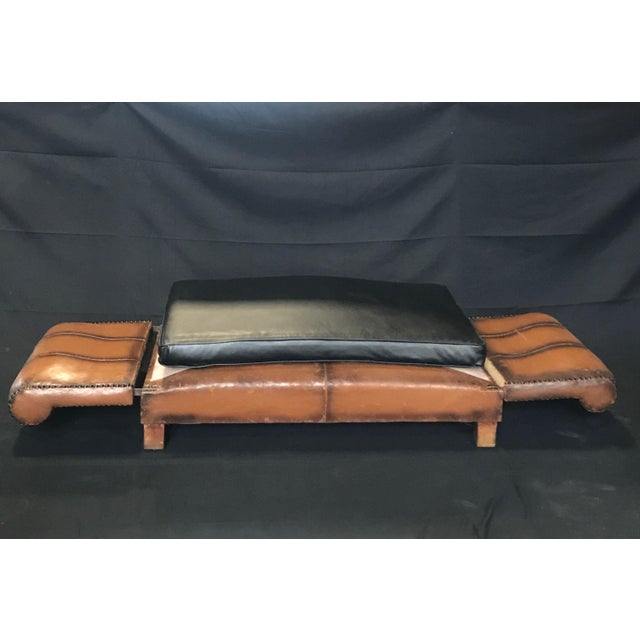 French Art Deco Leather Convertible Daybed Bench For Sale - Image 12 of 13
