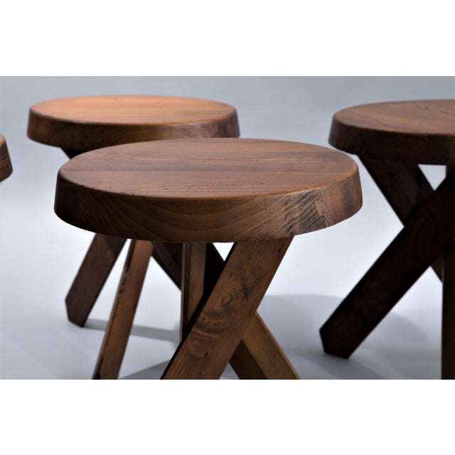 """Mid-Century Modern Pierre Chapo """"Tabourets S31"""" - Set of Four Elmwood Stools For Sale - Image 3 of 4"""