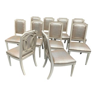 Set of 10 Faux Crocodile Dining Chairs For Sale