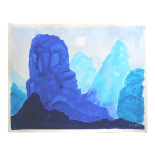Chinoiserie Mountain Landscape in Blue by Cleo Plowden For Sale