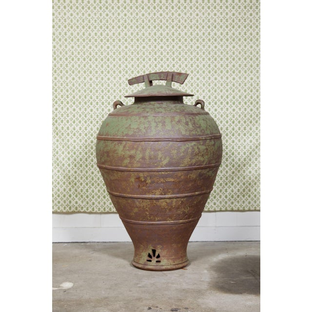 Urn Shaped Clay Jar With Lid, Stamped For Sale - Image 10 of 10