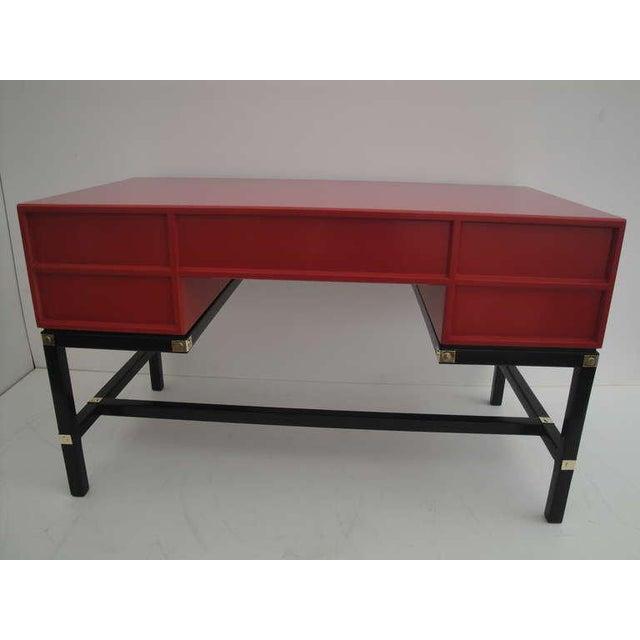 Henredon Hollywood Regency Red Campaign Style Desk For Image 4 Of 10