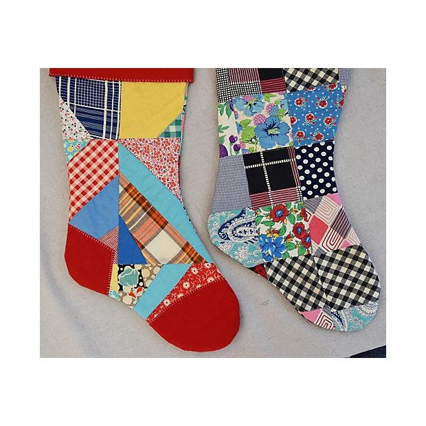 """Early 21st Century Large 22"""" Custom Tailored Patchwork Quilt Christmas Stockings - Pair For Sale - Image 5 of 8"""