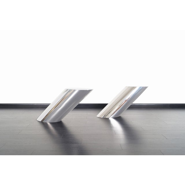 """Stunning pair of vintage polished steel """"Zephyr"""" end / side tables, circa 1970s. Designed by J. Wade Beam for Brueton in..."""