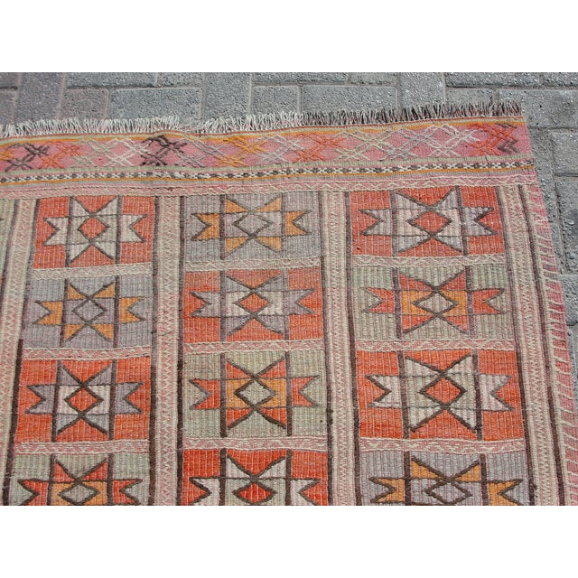 "Vintage Turkish Kilim Rug - 4'9"" x 5'1"" For Sale - Image 5 of 11"