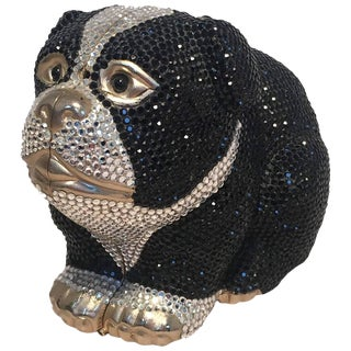 Judith Leiber Swarovski Crystal Bulldog Minaudiere Evening Bag For Sale