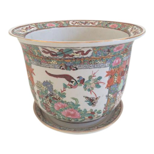 Asian Style Rose Medallion Cachepot For Sale