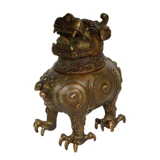 20th Century Chinese Bronze Foo Dog Incense Burner For Sale