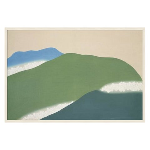 "Japanese ""Green Mountains"" Print Framed in Natural Maple by K. Sekka, Fr For Sale - Image 3 of 7"