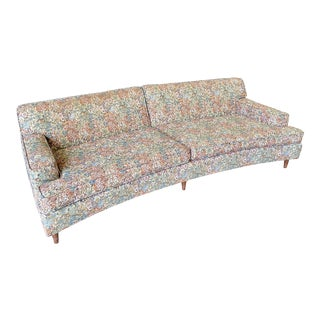 1960s Mid-Century Modern Curved Floral Tapestry Sofa For Sale