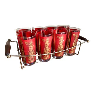 Mid Century High Ball Cocktail Glass Tumbler Set Indian Bodhisattva Motif For Sale