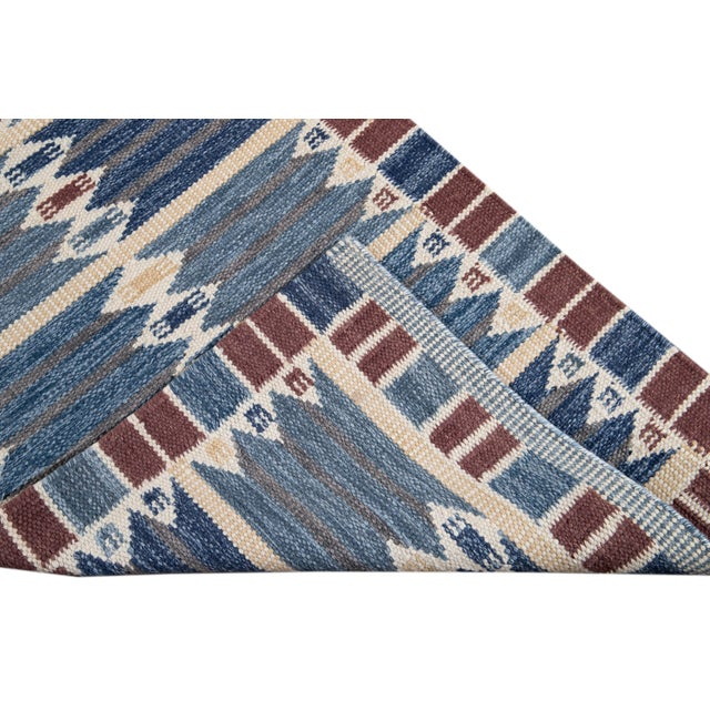 Contemporary 21st Century Modern Swedish Style Wool Runner Rug For Sale - Image 3 of 13