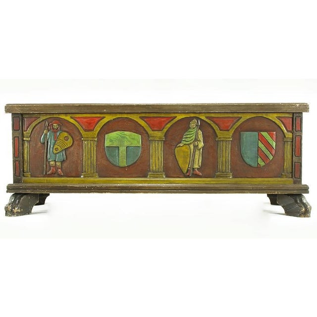 Artes De Mexico Spanish Revival Polychrome Wood Blanket Chest For Sale - Image 4 of 8
