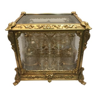 Antique French Ormolu Etched Crystal Tantalus For Sale