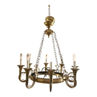 1960s Vintage English French Horn Eight-Arm Chandelier For Sale
