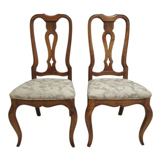 Modern Ethan Allen Country French Carved Dining Room Side Chairs- A Pair For Sale