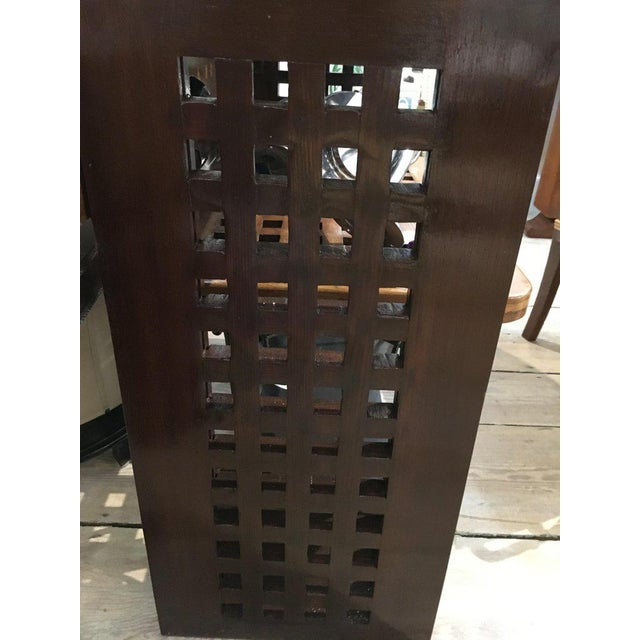 Metal Ship's Nautical Teak Decking Converted to Console Table With Brass Border For Sale - Image 7 of 10
