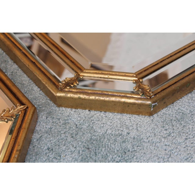 Gold 1950s Italian Gilt Octagonal Mirrors For Sale - Image 8 of 11