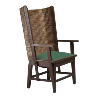 Orkney Chair with Green Fabric Seating, Scotland For Sale
