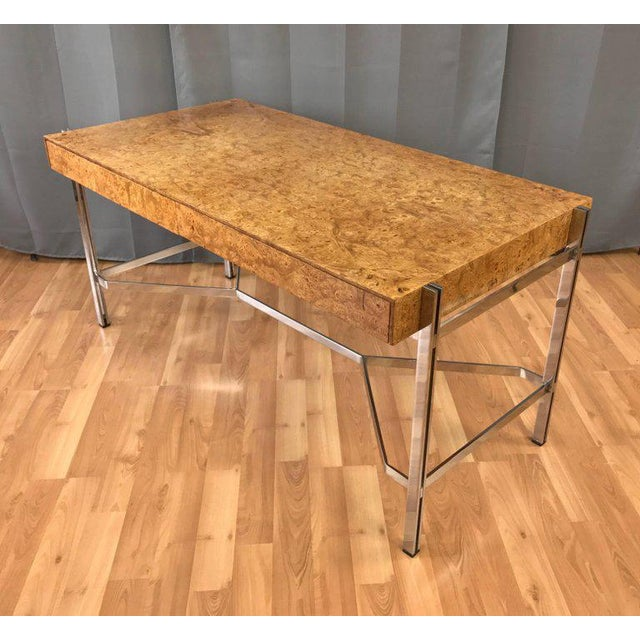 Notable Jack Freidin for Pace Burl Wood and Chrome Desk - Image 3 of 11