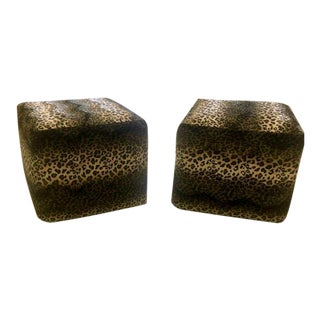 Modern Leopard Pouf Ottomans- a Pair For Sale