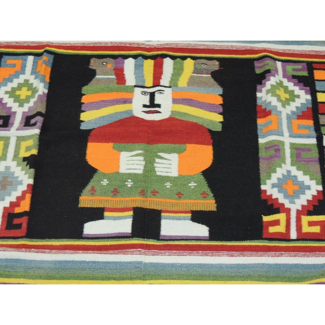 Boho Chic Large Vintage Woven Peruvian Throw With Fringes For Sale - Image 3 of 6