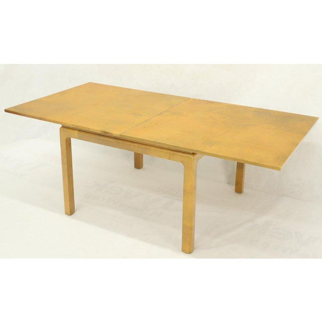 Brown Lacqured Goat Skin Parchment Square Flip Top Dining Table For Sale - Image 8 of 13
