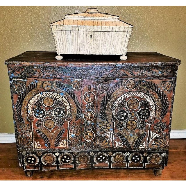 18c Scandinavian Hand Painted Pine Chest For Sale - Image 10 of 11