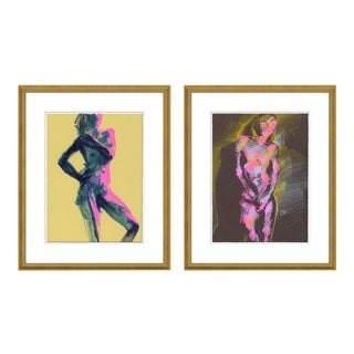 Figure 7 & 8 Diptych by David Orrin Smith in Gold Frame, XS Art Print For Sale