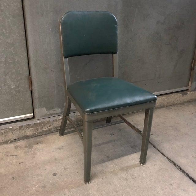 Industrial Vintage Mid-Century Industrial Teal Vinyl Office Chair For Sale - Image 3 of 9