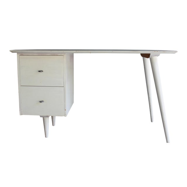 Mid-Century Modern Atomic White Writing Desk - Image 1 of 6