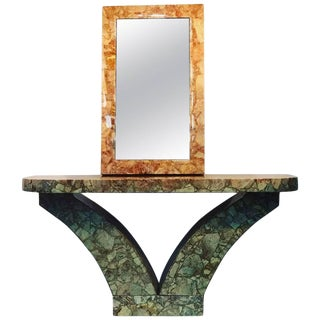 Modern Marble Resin Console and Mirror by Muller's - a Pair For Sale