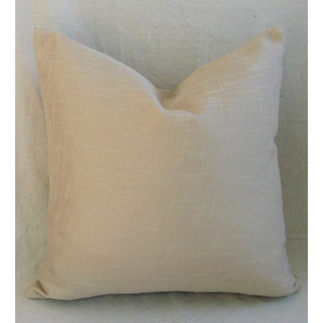 """Italian Genuine Italian Sandy Putty Colored Soft Leather Feather/Down Pillow 20"""" Square For Sale - Image 3 of 4"""