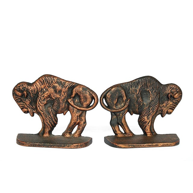 Vintage Bison Buffalo Bookends - a Pair For Sale In New York - Image 6 of 11