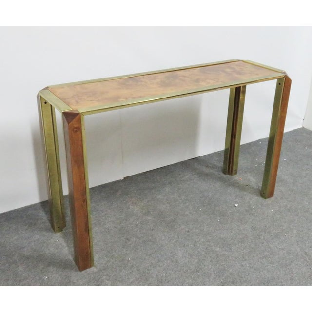 Brass Mid-Century Pace Burl & Brass Console Table For Sale - Image 7 of 7