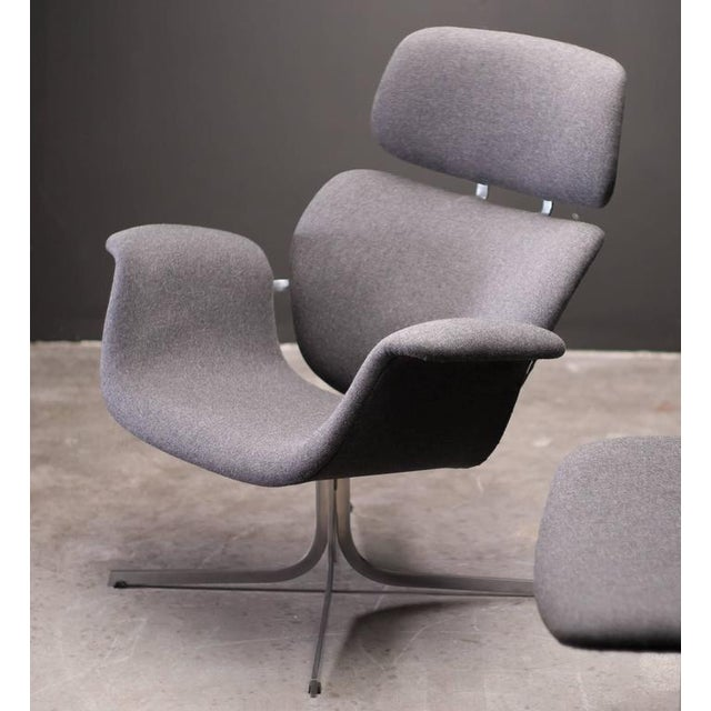 Silver Pierre Paulin F545 Lounge Chair with Matching Footstool for Artifort For Sale - Image 8 of 9