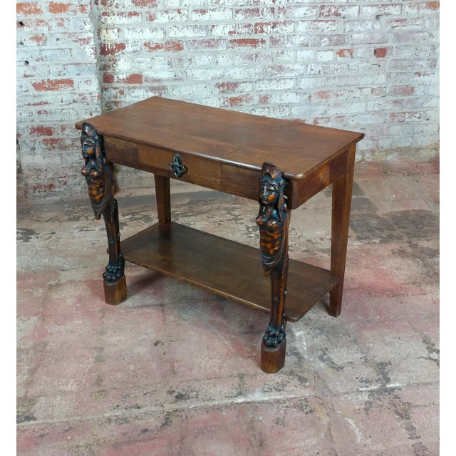 """Antique Side table w/two carved Nude Female Figures size 35 x 19 x 28"""""""