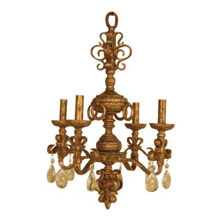 Chelsea House Venetian Style Iron Gold Gilt 4 Light Chandelier For Sale
