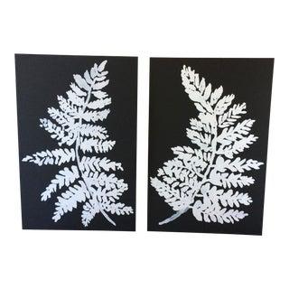 White Ferns on Black Prints - A Pair