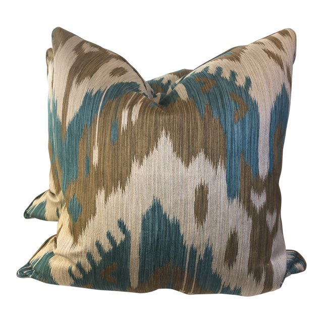 "Kravet ""Abrbandi Turquoise"" 22"" Pillows-A Pair For Sale"