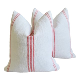 "French Homespun Rose/Pink Striped Grain Sack Feather/Down Pillows 19"" X 21"" - Pair For Sale"