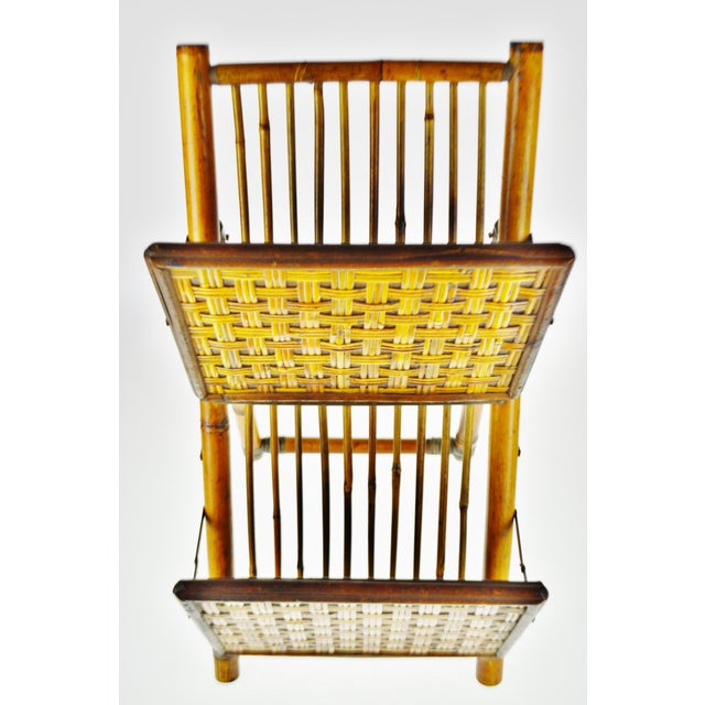 Asian Mid Century Bamboo and Rattan Two Tier Folding Magazine Rack For Sale - Image 3 of 13