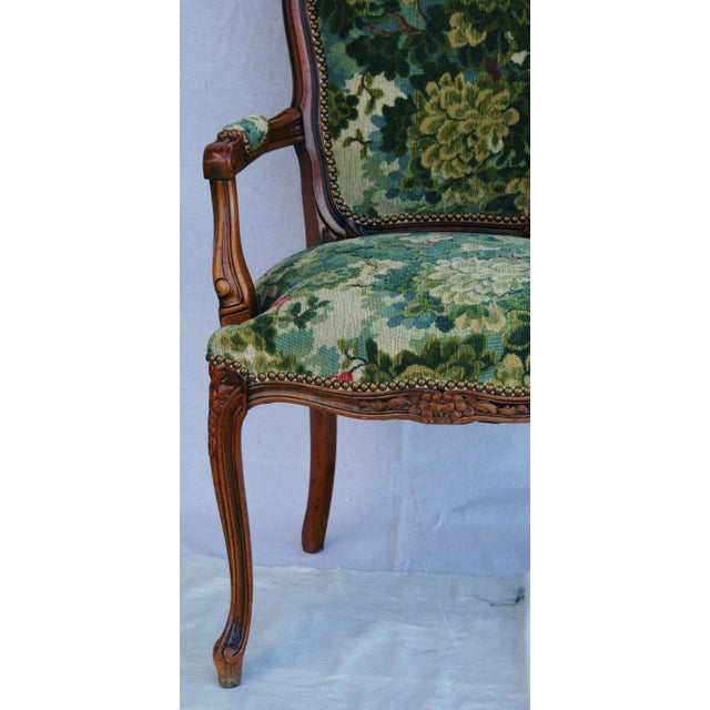 Scalamandre Marly Velvet Tapestry Fabric Walnut Armchair For Sale - Image 5 of 11