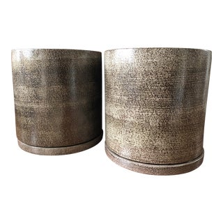 Gainey Ceramics Ac-20 Sc-20 Planters and Drip Trays - A Pair For Sale